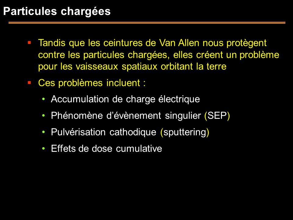 Particules chargées Tandis que les ceintures de Van Allen nous protègent contre les particules chargées, elles créent un problème pour les vaisseaux s