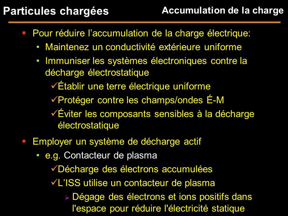 Particules chargées Pour réduire laccumulation de la charge électrique: Maintenez un conductivité extérieure uniforme Immuniser les systèmes électroni