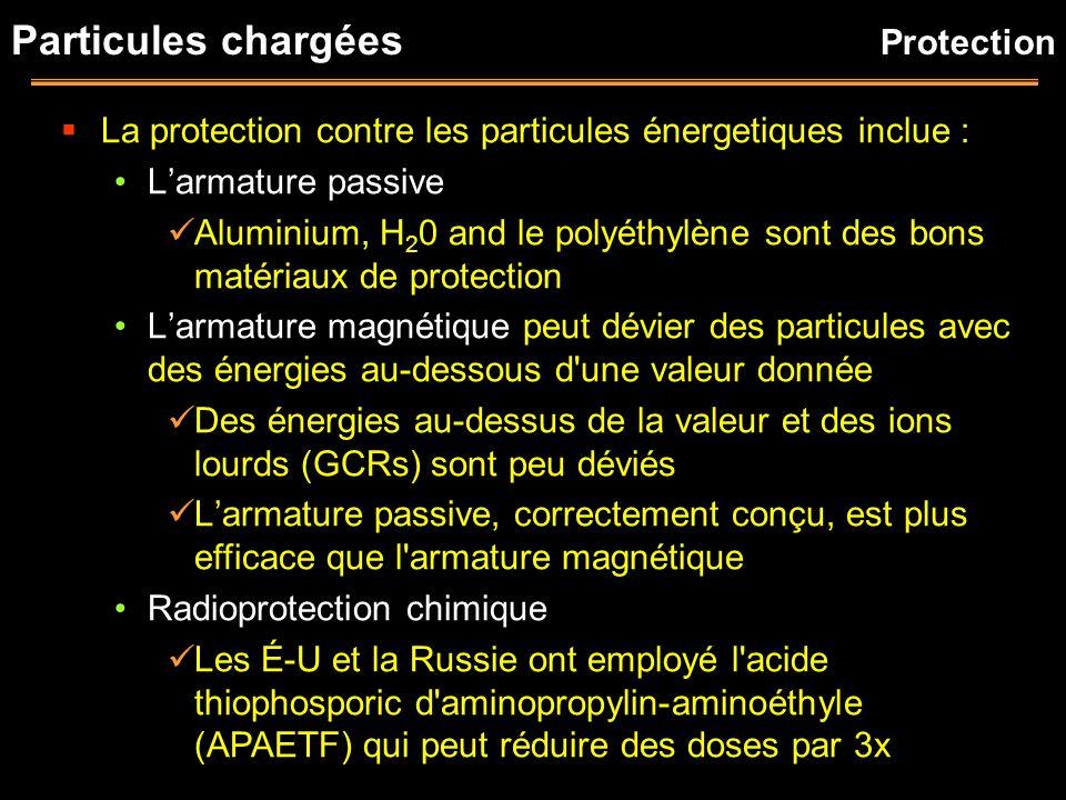 Particules chargées La protection contre les particules énergetiques inclue : Larmature passive Aluminium, H 2 0 and le polyéthylène sont des bons mat
