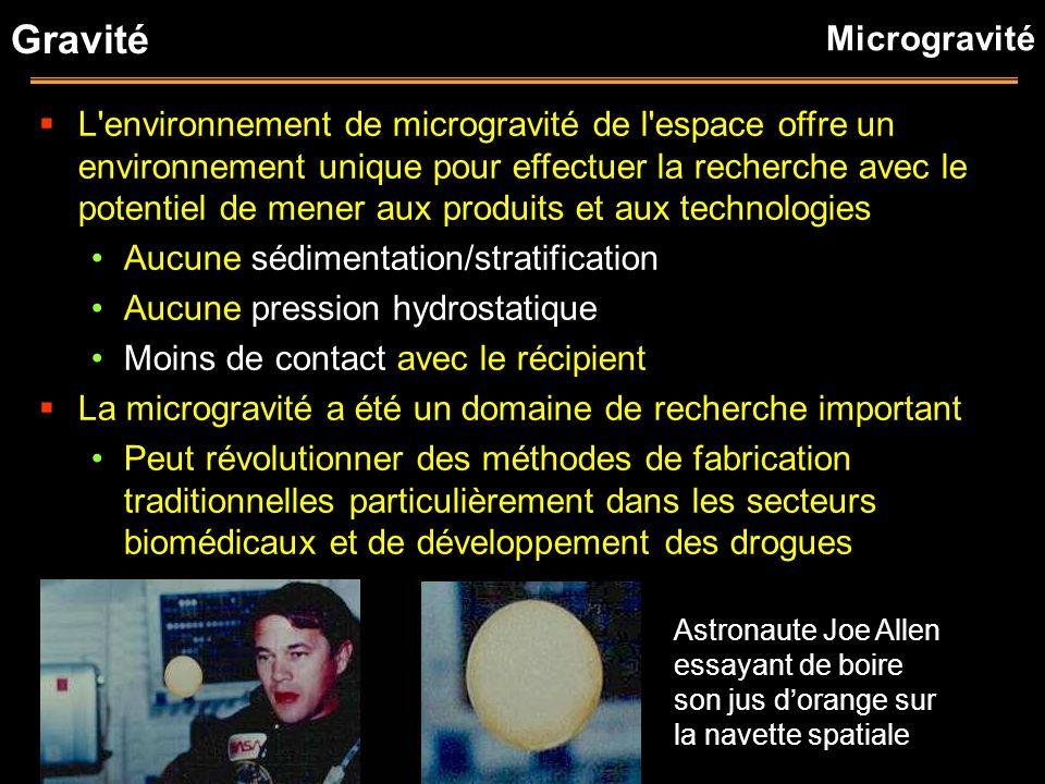 Gravité L'environnement de microgravité de l'espace offre un environnement unique pour effectuer la recherche avec le potentiel de mener aux produits