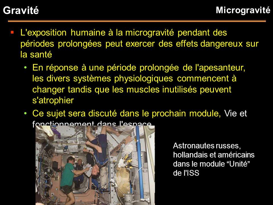 Gravité L'exposition humaine à la microgravité pendant des périodes prolongées peut exercer des effets dangereux sur la santé En réponse à une période