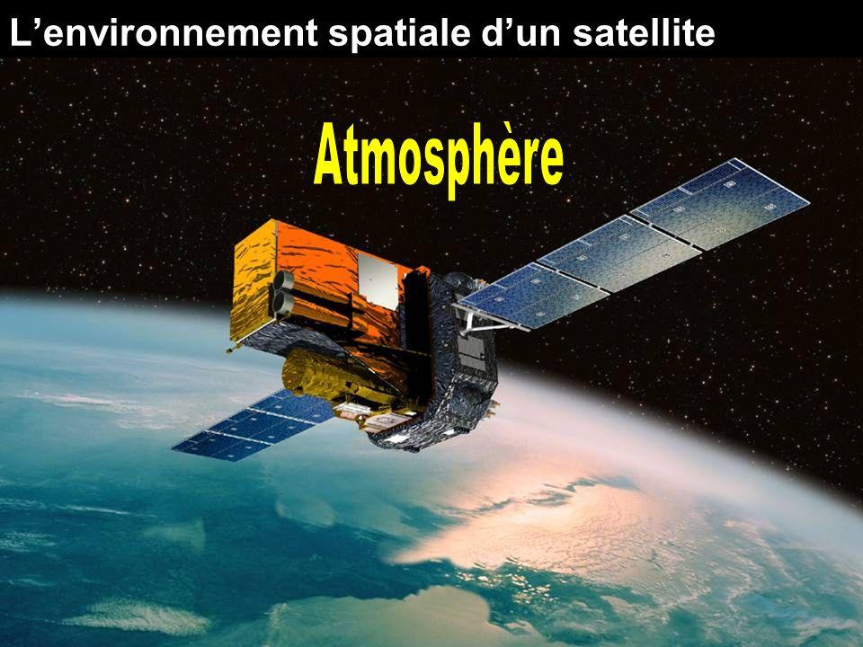 Atmosphère Latmosphère terrestre ne termine pas abruptement Sétend des centaines de km au-dessus de la surface L atmosphère affecte un vaisseau spatial dans lorbite basse terrestre (au-dessous d approximativement 600 kilomètres) de deux manières : Drague: raccourcit des vies orbitales en ralentissant la vitesse orbitale du satellite Oxygène atomique: dégrade des surfaces du vaisseau spatial