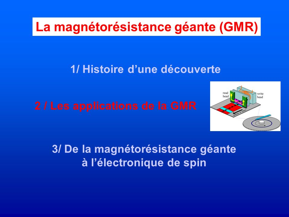 Capteur de champ magnétique Très sensible Taille nanométrique Fonctionnant dans une grande gamme de champ magnétique (selon les matériaux choisis) Les capteurs utilisant leffet GMR ont conquis très vite des marchés Ils ont remplacés les capteurs basés sur leffet AMR : anisotropic magnetoresistance 2 / Les applications de la GMR