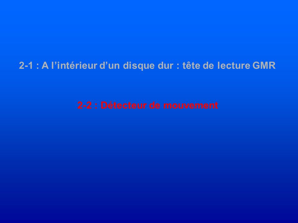 2-1 : A lintérieur dun disque dur : tête de lecture GMR 2-2 : Détecteur de mouvement