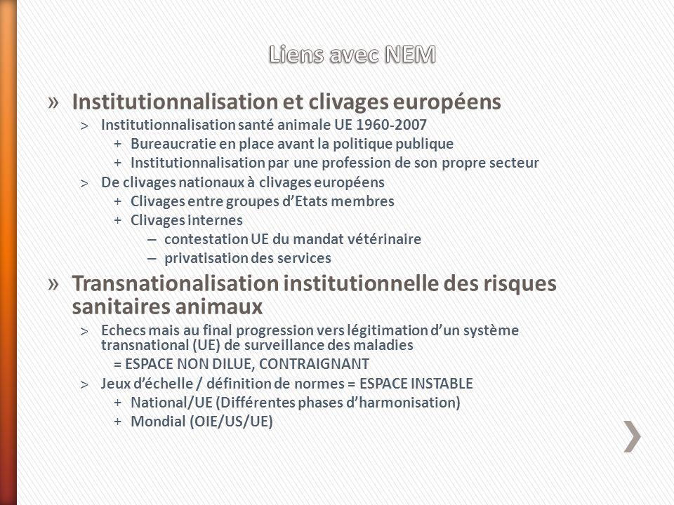 » Institutionnalisation et clivages européens ˃Institutionnalisation santé animale UE 1960-2007 +Bureaucratie en place avant la politique publique +In