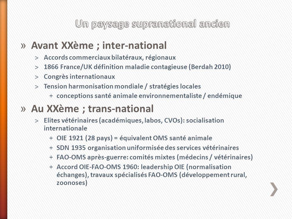 » Avant XXème ; inter-national ˃Accords commerciaux bilatéraux, régionaux ˃1866 France/UK définition maladie contagieuse (Berdah 2010) ˃Congrès intern