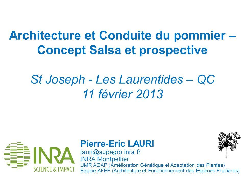 Architecture et Conduite du pommier – Concept Salsa et prospective St Joseph - Les Laurentides – QC 11 février 2013 Pierre-Eric LAURI lauri@supagro.in
