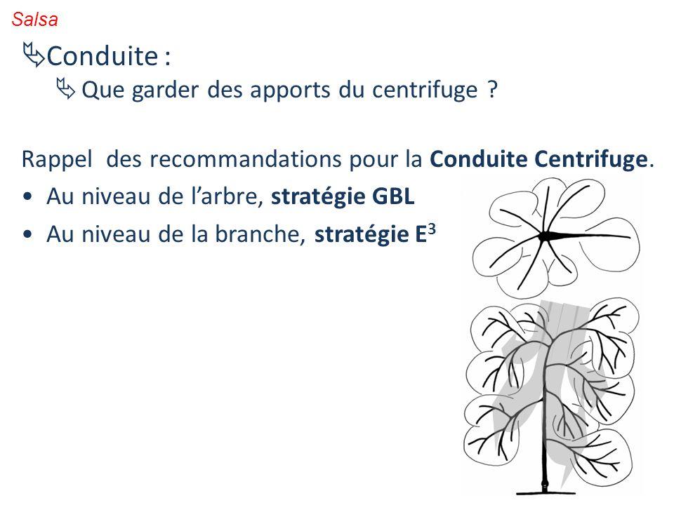 Salsa Conduite : Que garder des apports du centrifuge ? Rappel des recommandations pour la Conduite Centrifuge. Au niveau de larbre, stratégie GBL Au