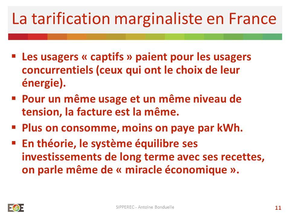 SIPPEREC - Antoine Bonduelle 11 La tarification marginaliste en France Les usagers « captifs » paient pour les usagers concurrentiels (ceux qui ont le