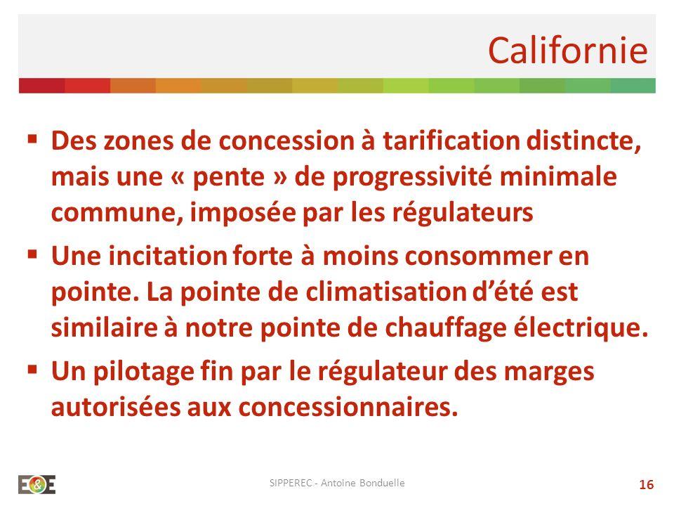Des zones de concession à tarification distincte, mais une « pente » de progressivité minimale commune, imposée par les régulateurs Une incitation for
