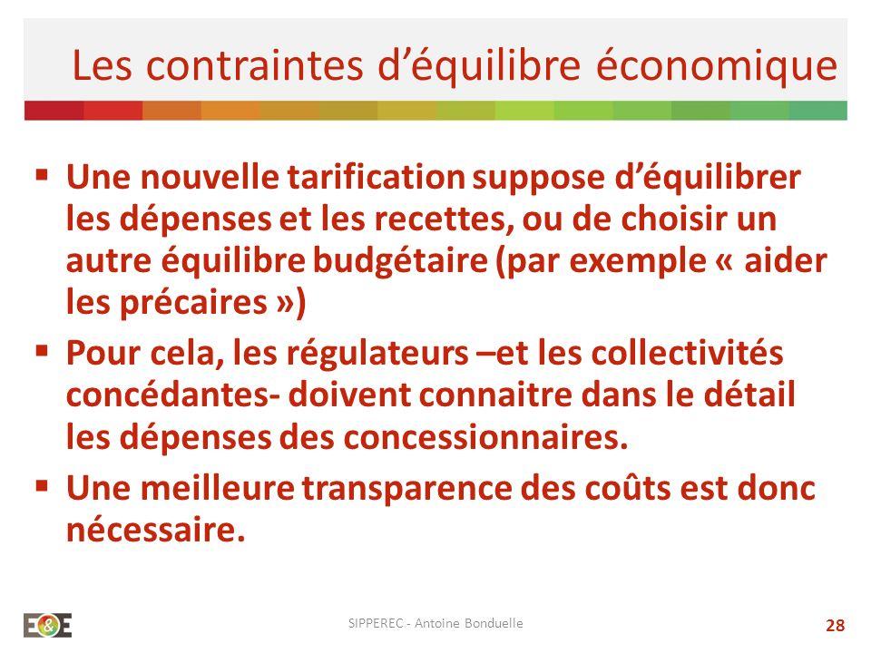 Une nouvelle tarification suppose déquilibrer les dépenses et les recettes, ou de choisir un autre équilibre budgétaire (par exemple « aider les préca