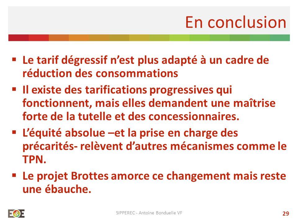 En conclusion Le tarif dégressif nest plus adapté à un cadre de réduction des consommations Il existe des tarifications progressives qui fonctionnent,