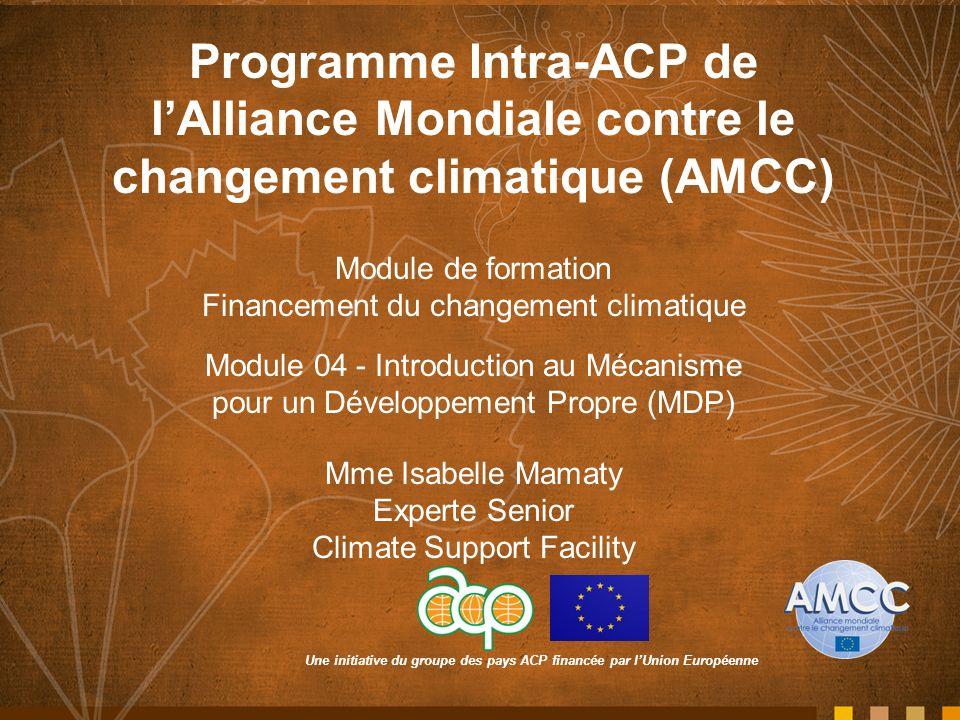 Une initiative du groupe des pays ACP financée par lUnion Européenne Programme Intra-ACP de lAlliance Mondiale contre le changement climatique (AMCC)