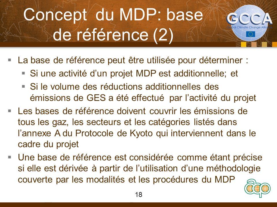 Concept du MDP: base de référence (2) La base de référence peut être utilisée pour déterminer : Si une activité dun projet MDP est additionnelle; et S