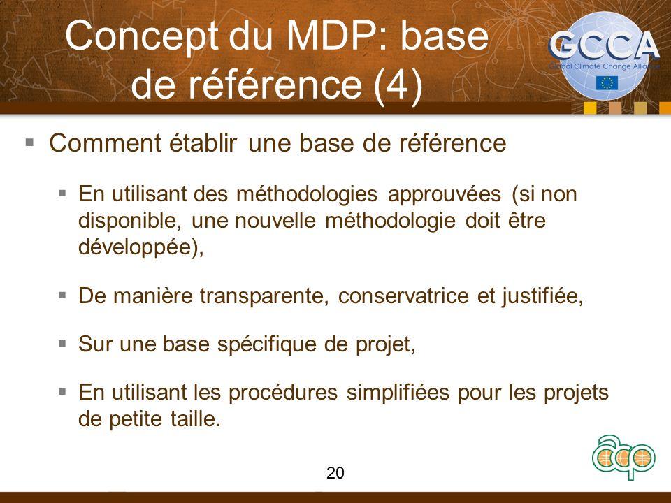 Concept du MDP: base de référence (4) Comment établir une base de référence En utilisant des méthodologies approuvées (si non disponible, une nouvelle