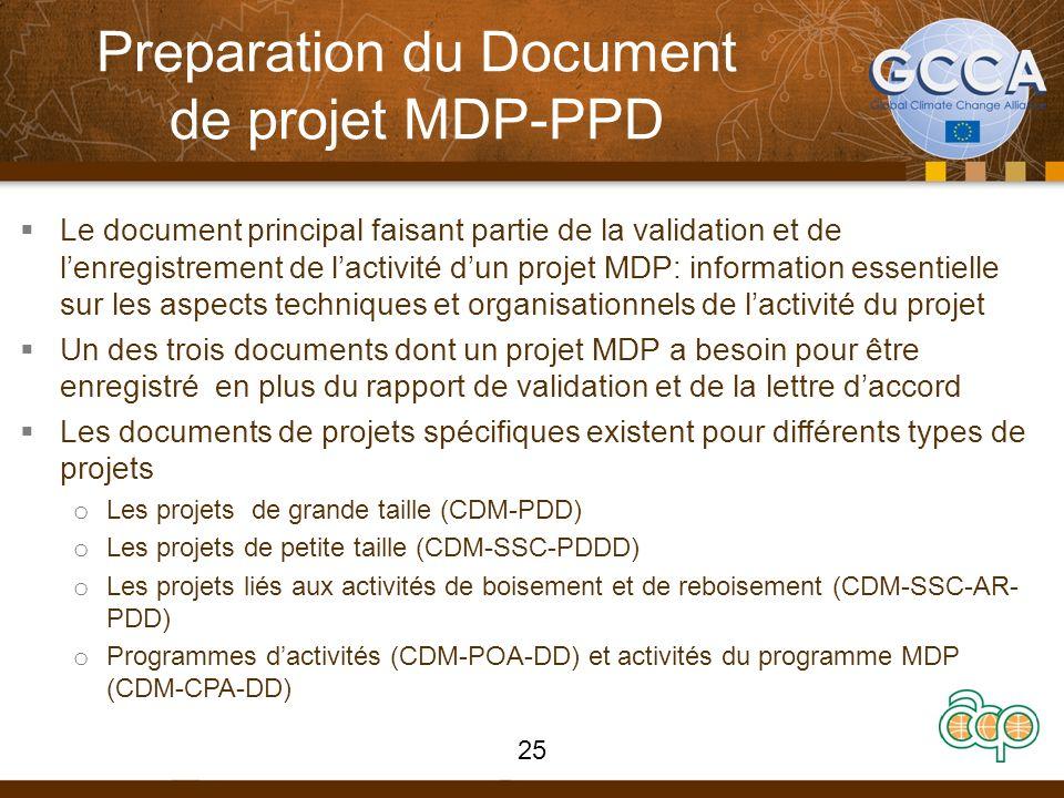 Preparation du Document de projet MDP-PPD Le document principal faisant partie de la validation et de lenregistrement de lactivité dun projet MDP: inf