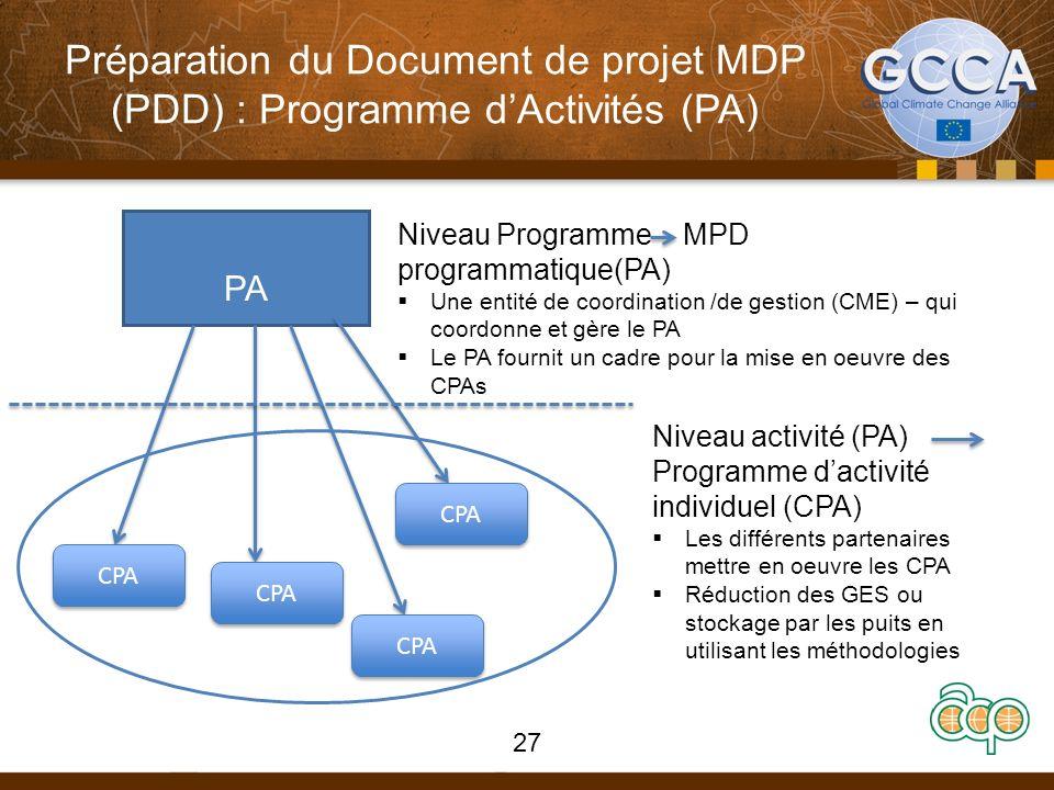 Préparation du Document de projet MDP (PDD) : Programme dActivités (PA) PA 27 CPA Niveau Programme MPD programmatique(PA) Une entité de coordination /