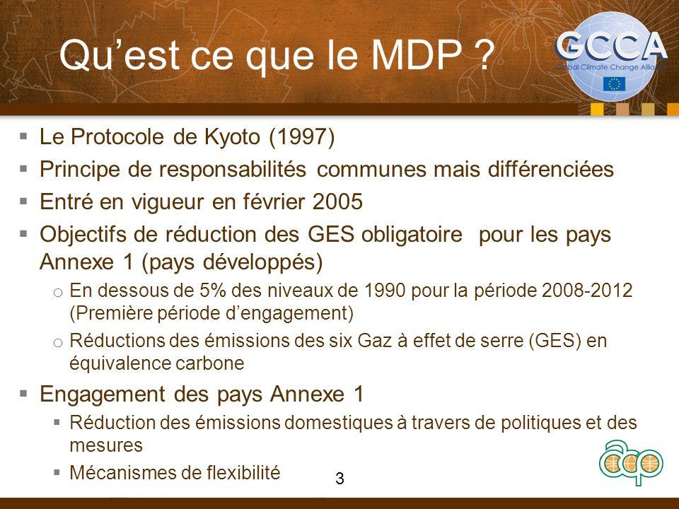 Le Protocole de Kyoto Annexe I (Pays développés) se sont mis daccord pour réduire leurs GES à 5,2% en dessous des niveaux de 1990 au cours de la première période dengagement 2008-2012 Le Protocole de Kyoto est un accord légalement contraignant de réduction des émissions pour les pays industrialisés à travers trois mécanismes axés sur les conditions de marché : Le commerce démissions Le mécanisme de développement propre (MDP) Lapplication conjointe (AC) 184 Parties à la Convention ont ratifié le protocole à ce jour 4