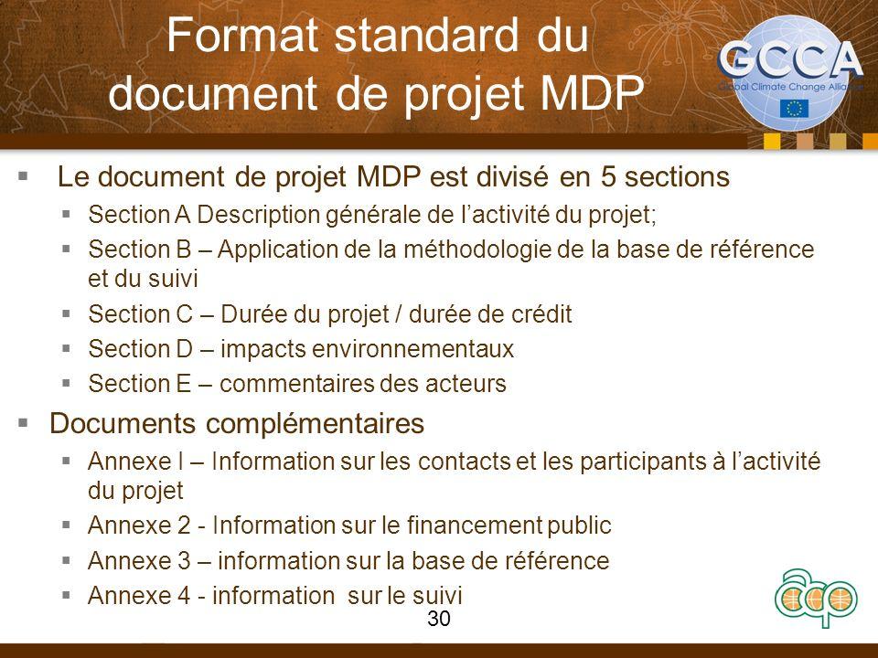 Format standard du document de projet MDP Le document de projet MDP est divisé en 5 sections Section A Description générale de lactivité du projet; Se