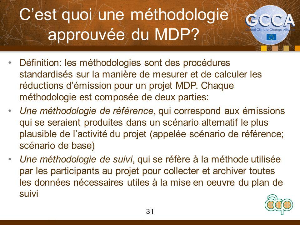 Cest quoi une méthodologie approuvée du MDP? Définition: les méthodologies sont des procédures standardisés sur la manière de mesurer et de calculer l