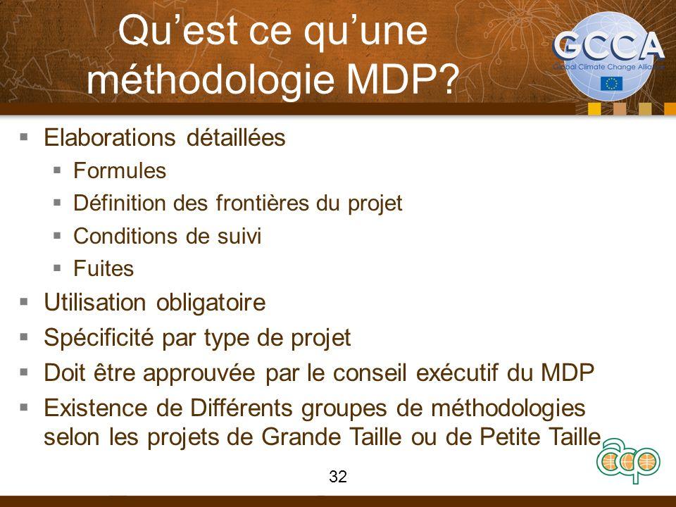 Quest ce quune méthodologie MDP? Elaborations détaillées Formules Définition des frontières du projet Conditions de suivi Fuites Utilisation obligatoi