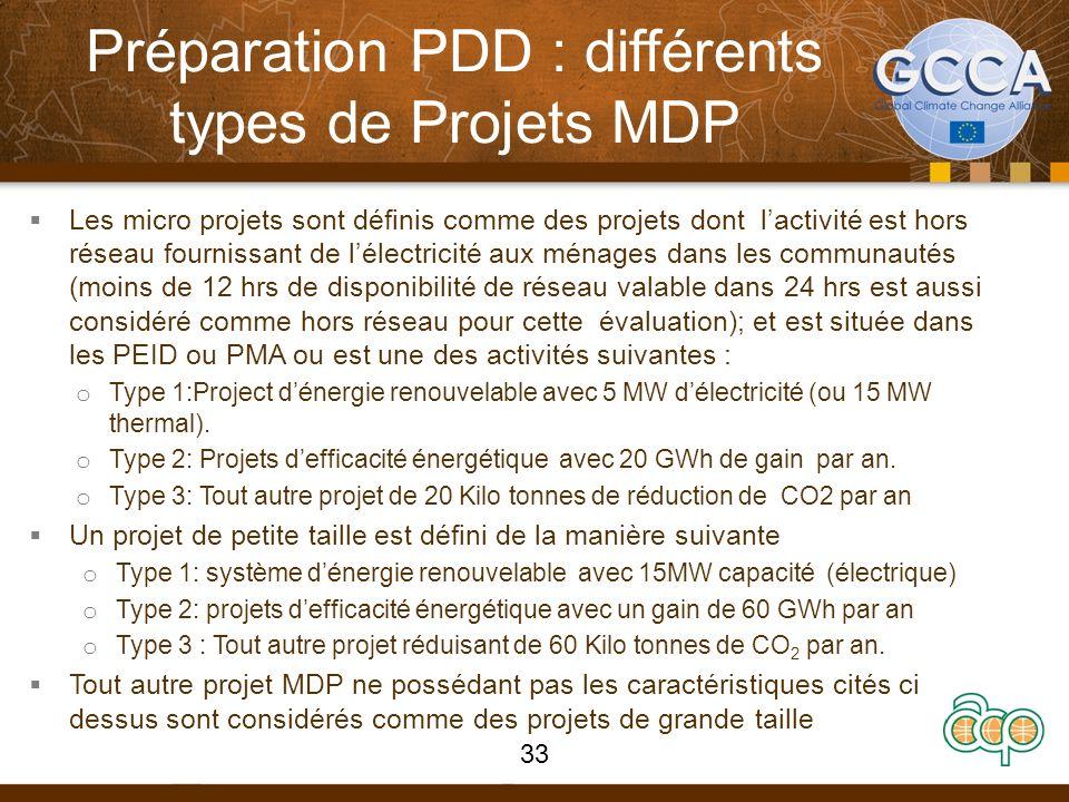 Préparation PDD : différents types de Projets MDP Les micro projets sont définis comme des projets dont lactivité est hors réseau fournissant de lélec