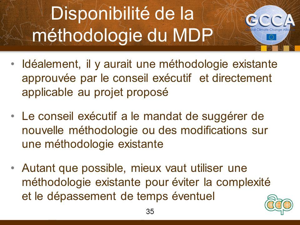 Disponibilité de la méthodologie du MDP Idéalement, il y aurait une méthodologie existante approuvée par le conseil exécutif et directement applicable