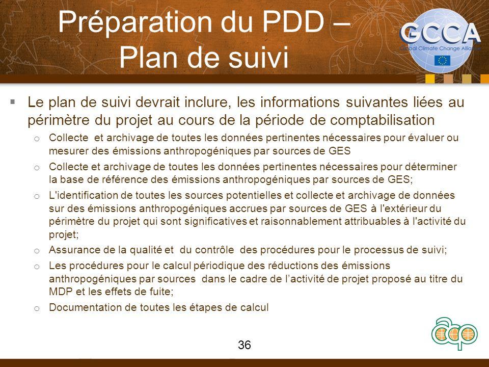 Préparation du PDD – Plan de suivi Le plan de suivi devrait inclure, les informations suivantes liées au périmètre du projet au cours de la période de