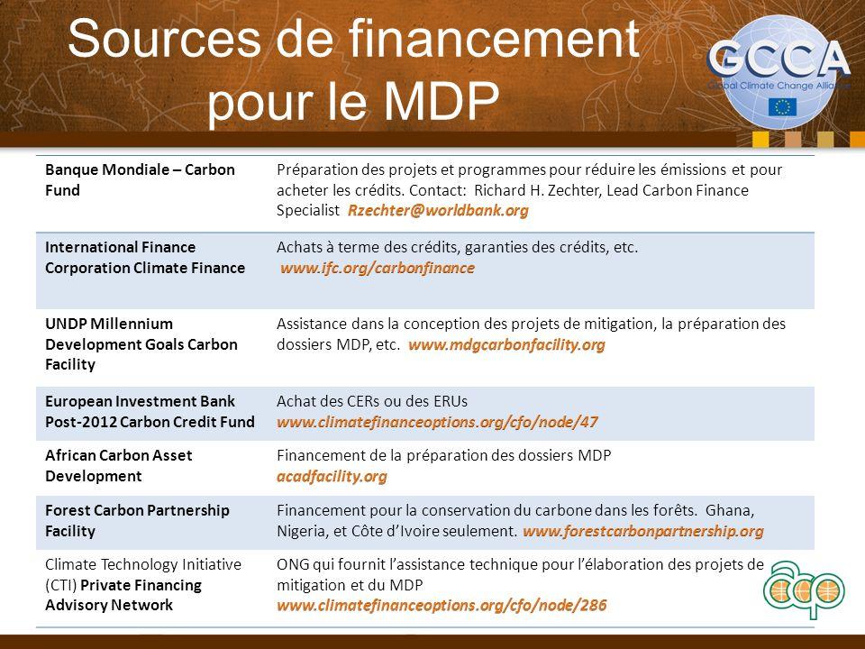 Sources de financement pour le MDP Banque Mondiale – Carbon Fund International Finance Corporation Climate Finance UNDP Millennium Development Goals C