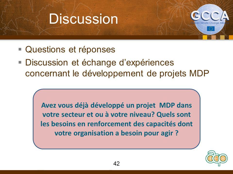 Discussion Questions et réponses Discussion et échange dexpériences concernant le développement de projets MDP 42 Avez vous déjà développé un projet M