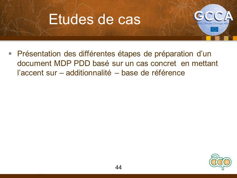 Etudes de cas Présentation des différentes étapes de préparation dun document MDP PDD basé sur un cas concret en mettant laccent sur – additionnalité
