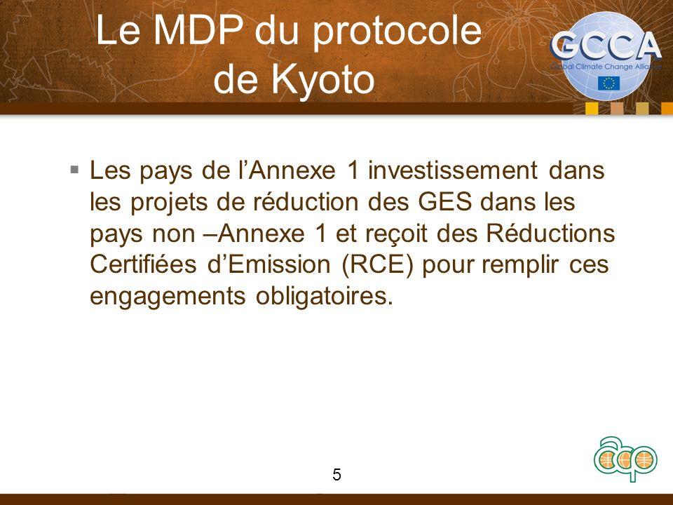 Objectifs du MDP Article 12 du Protocole de Kyoto Deux objectifs principaux 1.Assister les pays hôtes (non-annexe 1) à atteindre un développement soutenable 2.Fournir la flexibilité aux investisseurs des pays Annexe1 de réduire leurs émissions 6