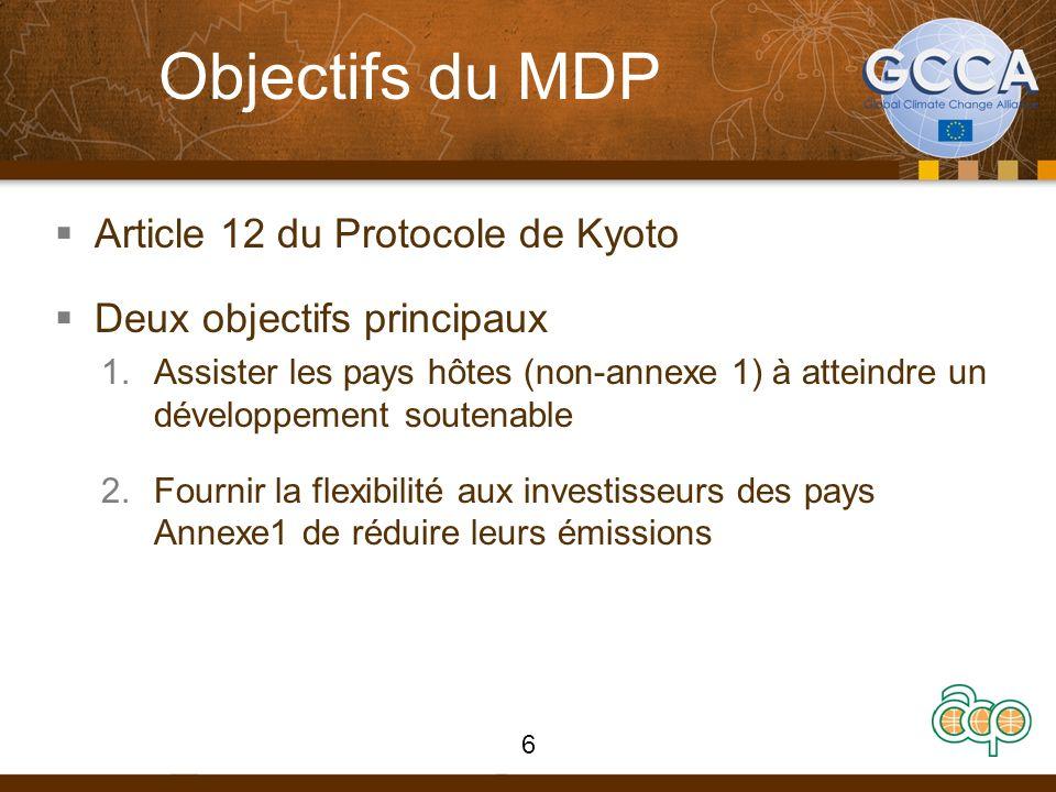 Objectifs du MDP Article 12 du Protocole de Kyoto Deux objectifs principaux 1.Assister les pays hôtes (non-annexe 1) à atteindre un développement sout
