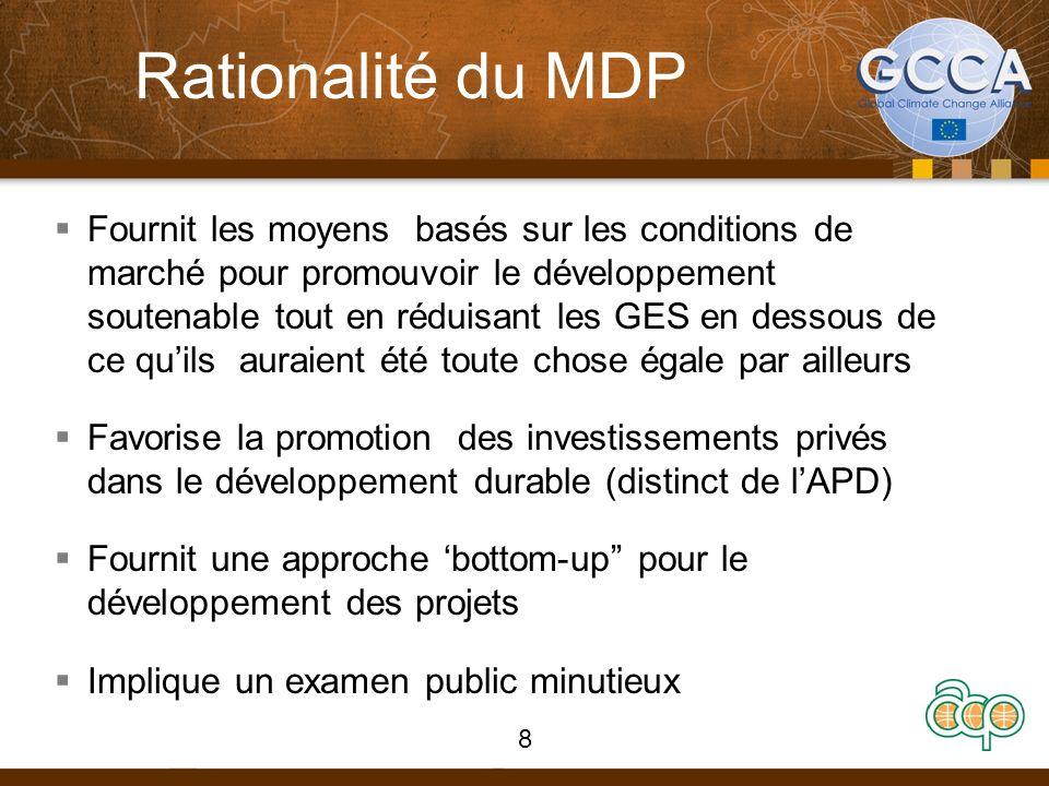 Préparation du Document de projet MDP (PDD) : types de projets MDP Projet uniqueAssemblage de projetsProgramme Une seule localitéPlusieurs localitésPlusieurs localités à travers différents pays Un seul propriétaire de projet (ex.., 1 usine hydroélectrique) Plusieurs propriétaires de projets (ex., 10 centrales hydroélectriques ) Plusieurs propriétaire de projets 1 seul projetNombre dactivités soumis en 1 seul projet (ex., 10 centrales hydroélectriques ) Un nombre dactivités soumis au cours de la durée du programme Une seule période de comptabilisation (ex., 7/10 ans) Une seule période de comptabilisation pour tous (7/10 ans) Chaque projet a sa propre période de comptabilisation Propriétaire de projet est connu Tous les propriétaires de projets sont connus Au moins un des propriétaires de projet est connu, le reste est inclus au four et à mesure