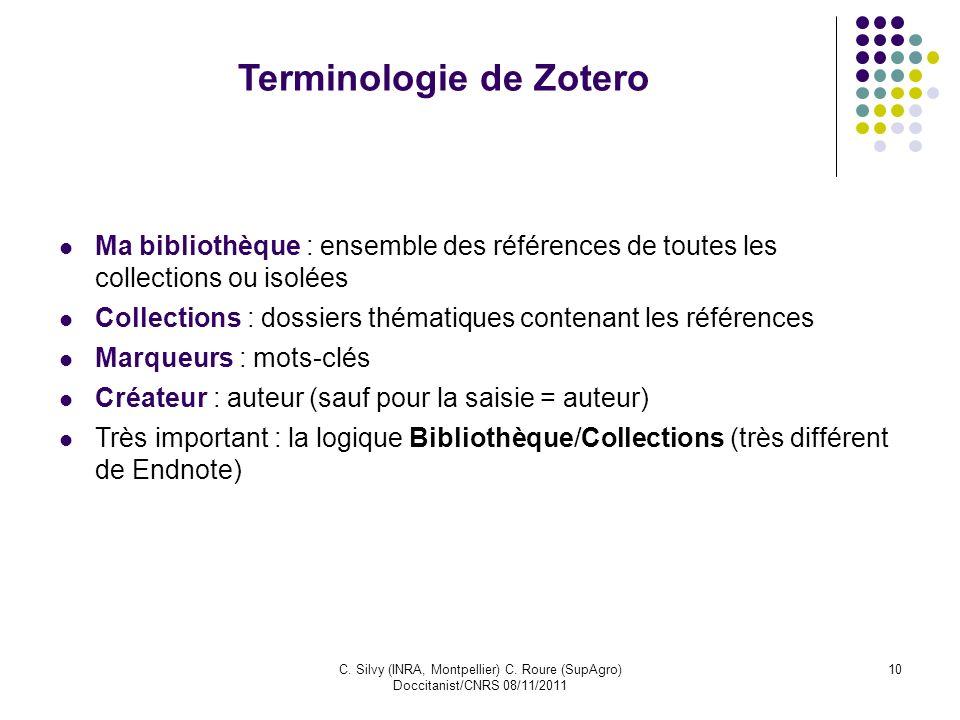 C. Silvy (INRA, Montpellier) C. Roure (SupAgro) Doccitanist/CNRS 08/11/2011 10 Terminologie de Zotero Ma bibliothèque : ensemble des références de tou