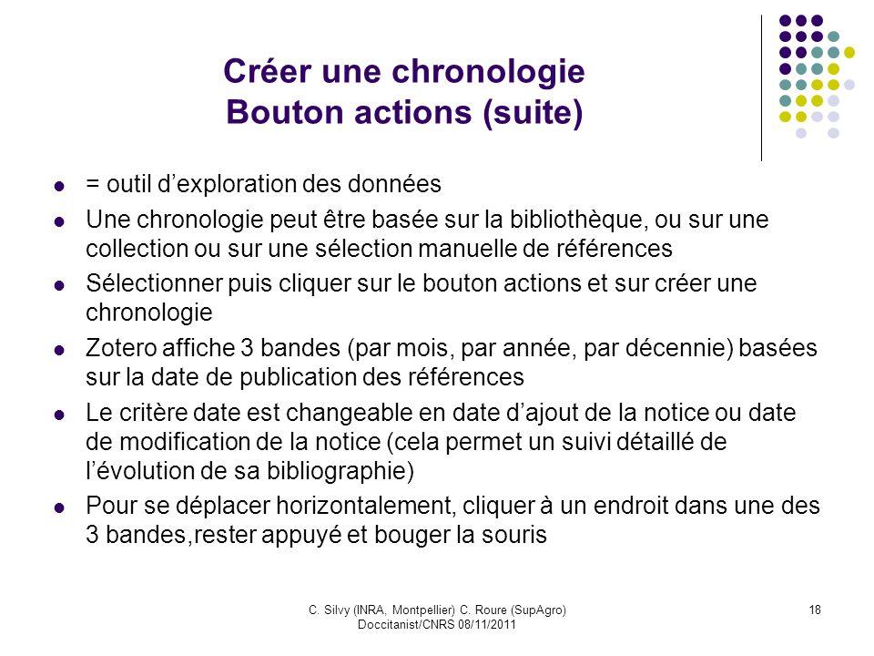C. Silvy (INRA, Montpellier) C. Roure (SupAgro) Doccitanist/CNRS 08/11/2011 18 Créer une chronologie Bouton actions (suite) = outil dexploration des d