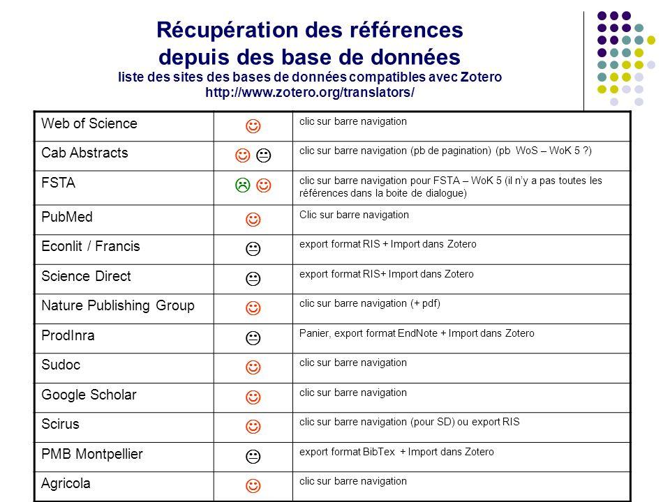 C. Silvy (INRA, Montpellier) C. Roure (SupAgro) Doccitanist/CNRS 08/11/2011 50 Récupération des références depuis des base de données liste des sites