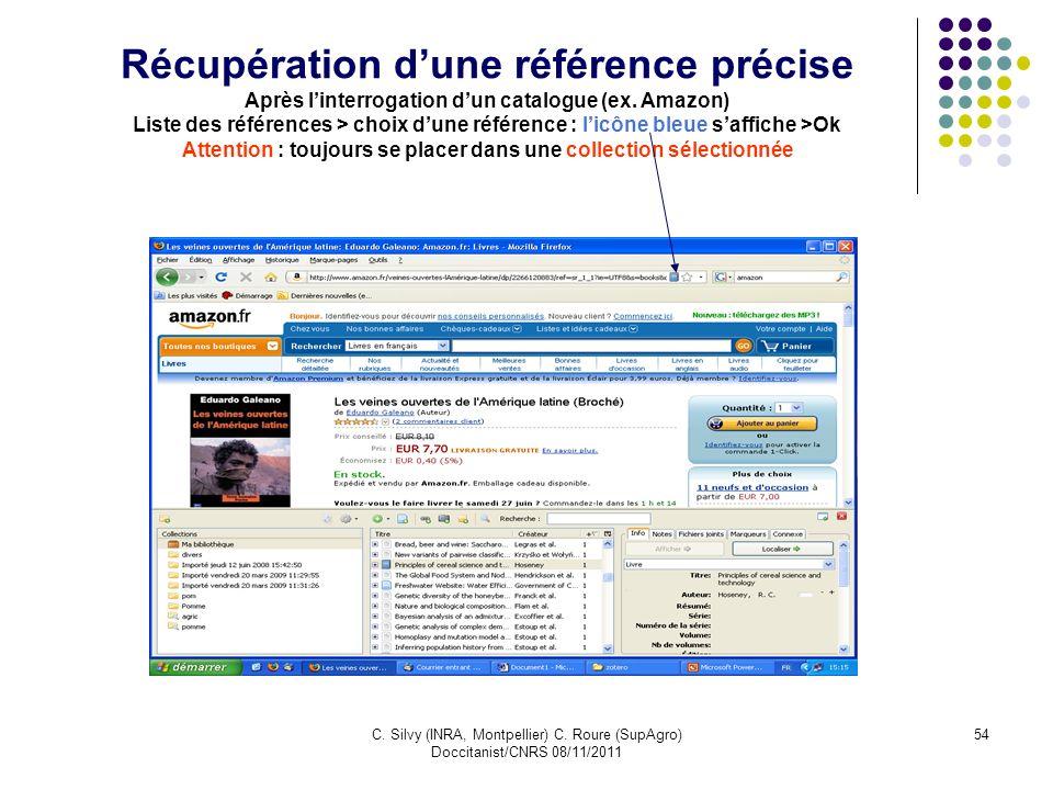 C. Silvy (INRA, Montpellier) C. Roure (SupAgro) Doccitanist/CNRS 08/11/2011 54 Récupération dune référence précise Après linterrogation dun catalogue