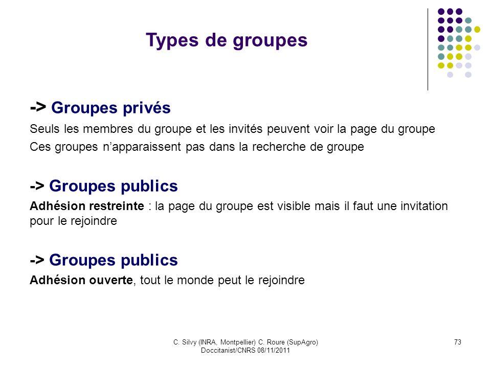 C. Silvy (INRA, Montpellier) C. Roure (SupAgro) Doccitanist/CNRS 08/11/2011 73 Types de groupes -> Groupes privés Seuls les membres du groupe et les i