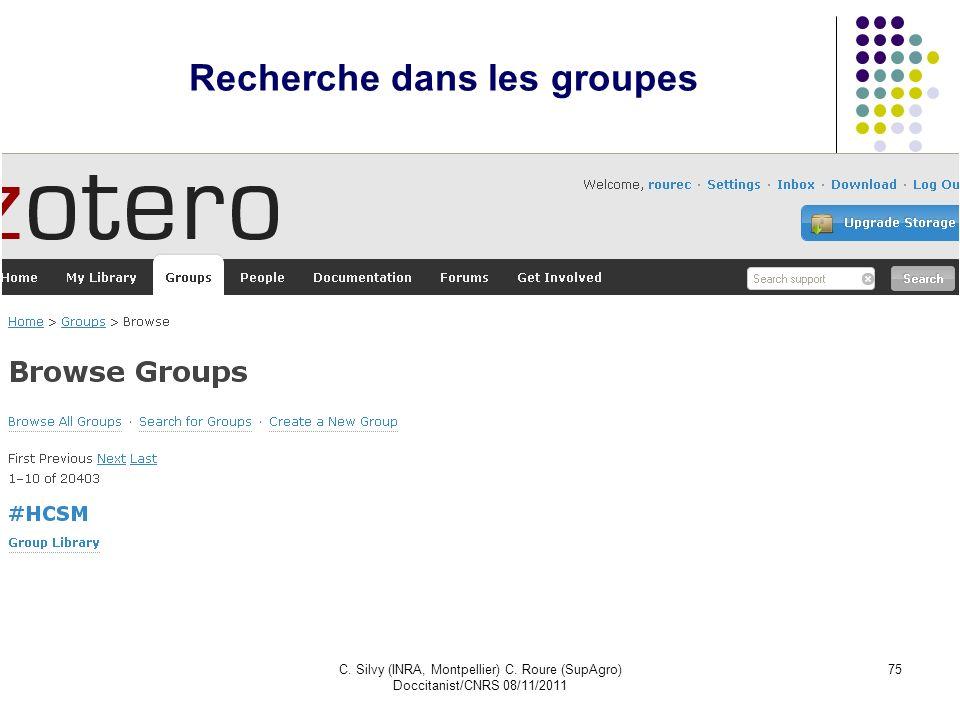 C. Silvy (INRA, Montpellier) C. Roure (SupAgro) Doccitanist/CNRS 08/11/2011 75 Recherche dans les groupes