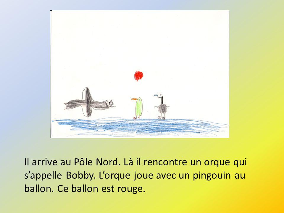 Il arrive au Pôle Nord. Là il rencontre un orque qui sappelle Bobby. Lorque joue avec un pingouin au ballon. Ce ballon est rouge.