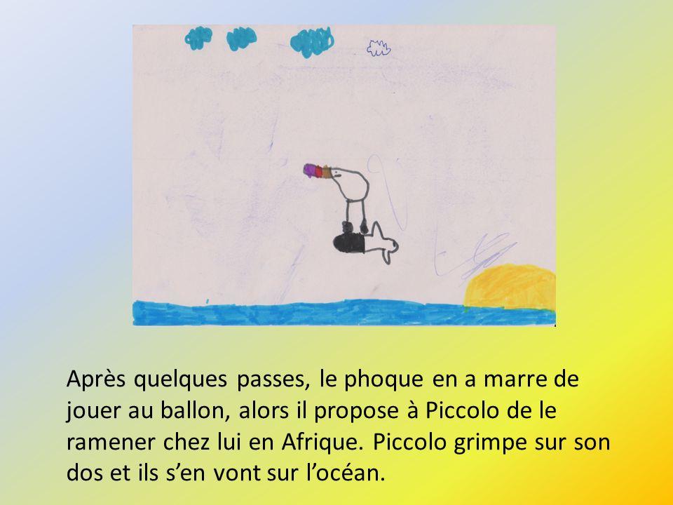 Après quelques passes, le phoque en a marre de jouer au ballon, alors il propose à Piccolo de le ramener chez lui en Afrique. Piccolo grimpe sur son d