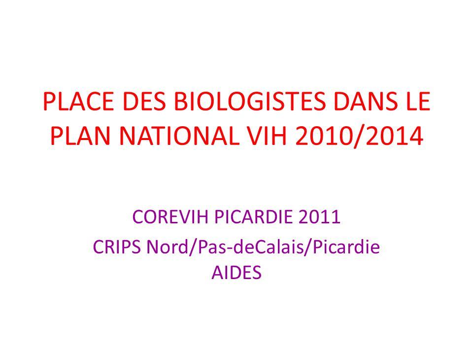 PLACE DES BIOLOGISTES DANS LE PLAN NATIONAL VIH 2010/2014 COREVIH PICARDIE 2011 CRIPS Nord/Pas-deCalais/Picardie AIDES