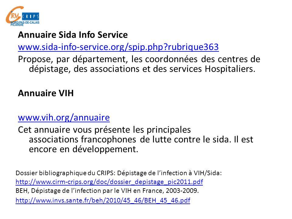 Annuaire Sida Info Service www.sida-info-service.org/spip.php?rubrique363 Propose, par département, les coordonnées des centres de dépistage, des asso