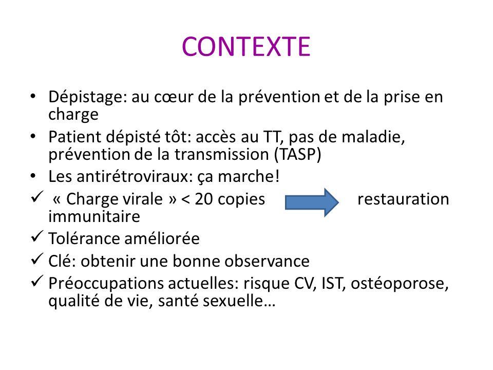 CONTEXTE Dépistage: au cœur de la prévention et de la prise en charge Patient dépisté tôt: accès au TT, pas de maladie, prévention de la transmission