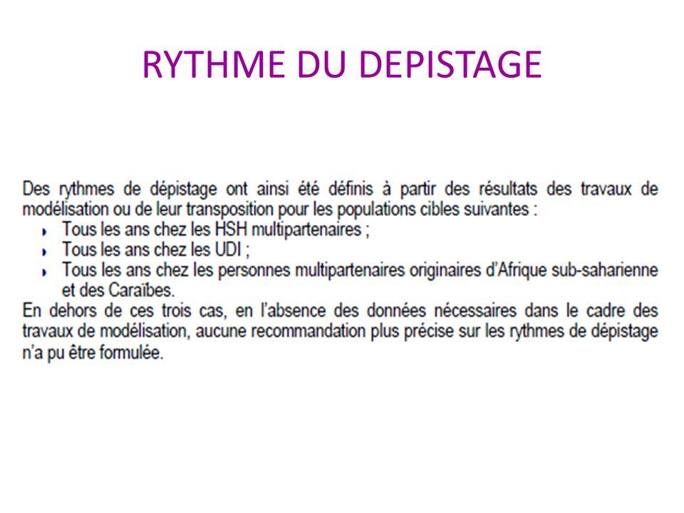 RYTHME DU DEPISTAGE