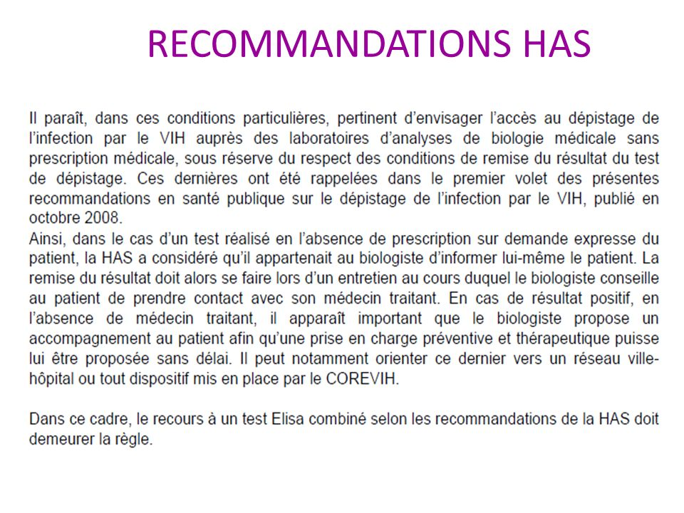RECOMMANDATIONS HAS
