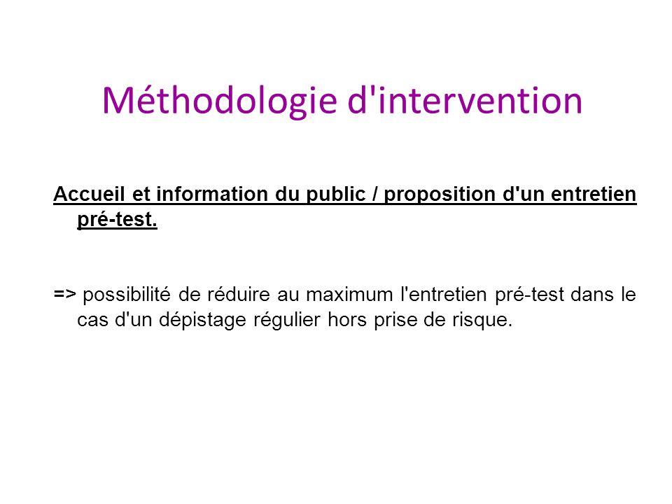Accueil et information du public / proposition d'un entretien pré-test. => possibilité de réduire au maximum l'entretien pré-test dans le cas d'un dép