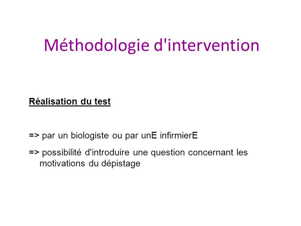 Méthodologie d'intervention Réalisation du test => par un biologiste ou par unE infirmierE => possibilité d'introduire une question concernant les mot
