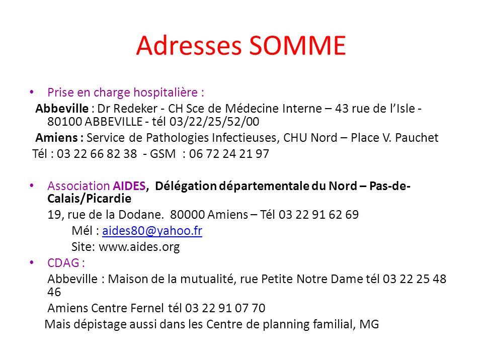 Adresses SOMME Prise en charge hospitalière : Abbeville : Dr Redeker - CH Sce de Médecine Interne – 43 rue de lIsle - 80100 ABBEVILLE - tél 03/22/25/5